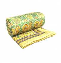 Surajmukhi Canary Bright Floral Yellow Quilt in twin size