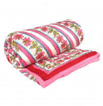 Twin Size Block Print Flower Bed Soft Cotton Quilt displaying a bed of flowers handmade