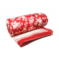 Floral Red TWIN Size Quilt Block Printed by the amazing artisans of Roopantaran