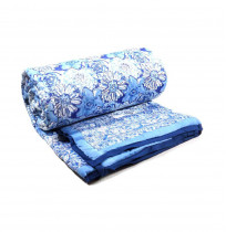 Blossom Blue Queen Size Soft Cotton Bed Quilt Handmade
