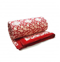Amarnath Red Floral Queen Quilt printed on soft Cotton Voile