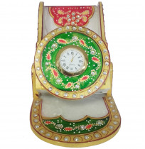 Rajasthan Marble Cell Phone Stand With Clock
