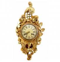 20th Century Swedish Westerstrand Rococo Style Gilt Carved Wood Wall Clock