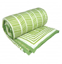 Herringbone Print in Green on Soft Cotton Indian Quilt