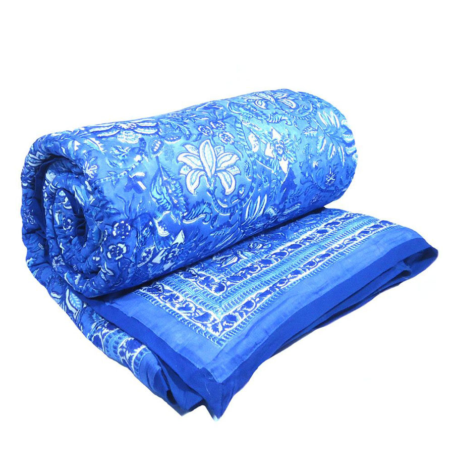 Anarkali Blue Quilt printed on Soft Cotton by the artisans of Roopantaran