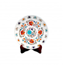 Decorative Marble Inlay Plate With Stand