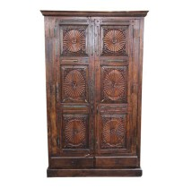 Antique Sunburst Carved Teak Armoire