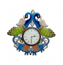 Vintage Clock Hand crafted Wooden Rajasthani Elephant and Peacock