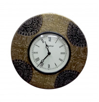 Metal Fitted With Flower Design Round Wall Clock